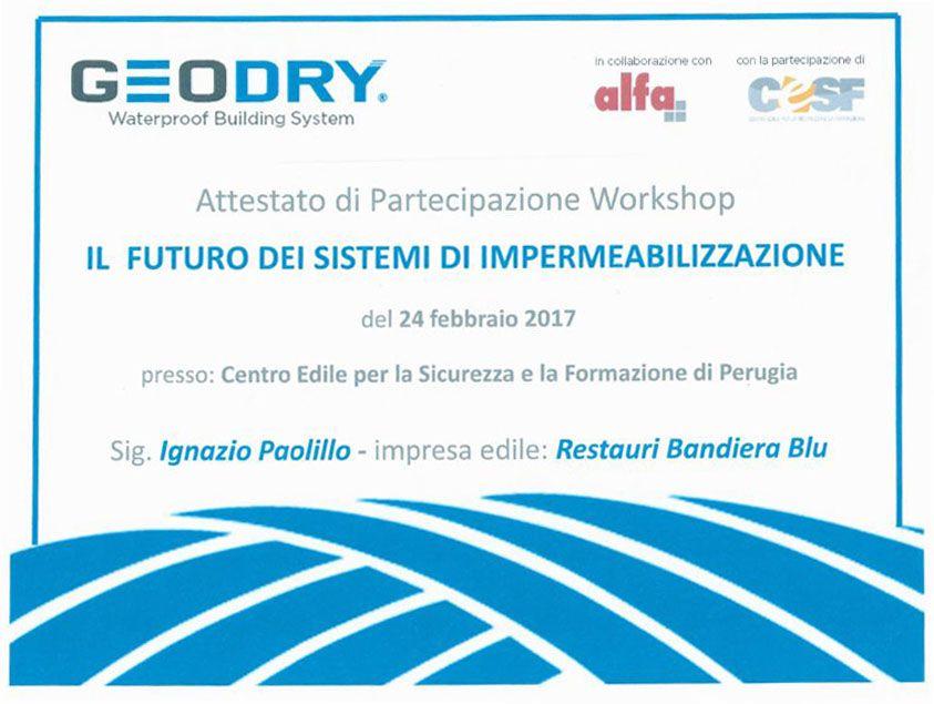 """GEODRY - Attestato di Partecipazione Workshop """"Il futuro dei sistemi di impermeabilizzazione"""""""