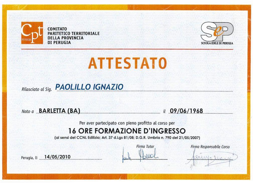 Attestato di formazione Comitato Paritetico Territoriale della Provincia di Perugia