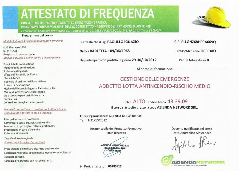 """Attestato di frequenza """"Gestione delle emergenze - Addetto lotta antincendio - Rischio medio"""""""